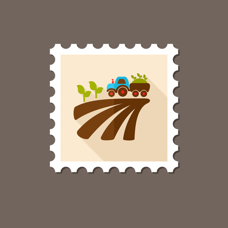 seedling: Tractor on field harvest seedling flat stamp with long shadow