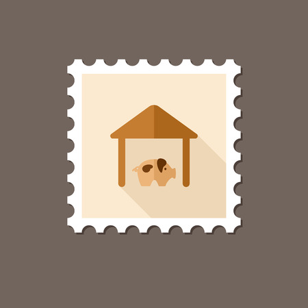 pigsty: Pigsty flat stamp with long shadow,