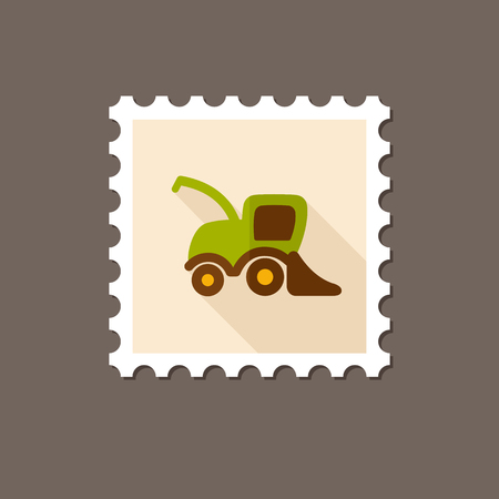 harvester: Combine harvester flat stamp with long shadow, eps 10