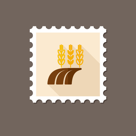 barley field: Ears of Wheat, Barley or Rye on field flat stamp with long shadow