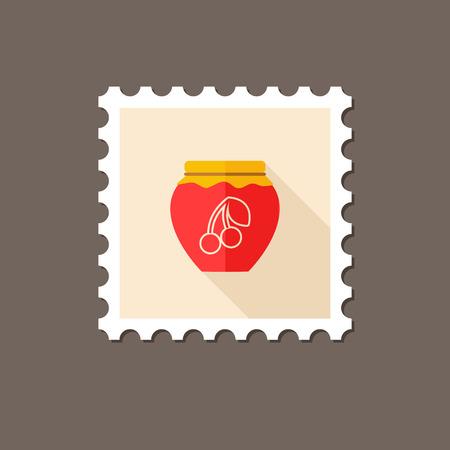 jam jar: Cherry jam jar flat stamp with long shadow, eps 10 Illustration
