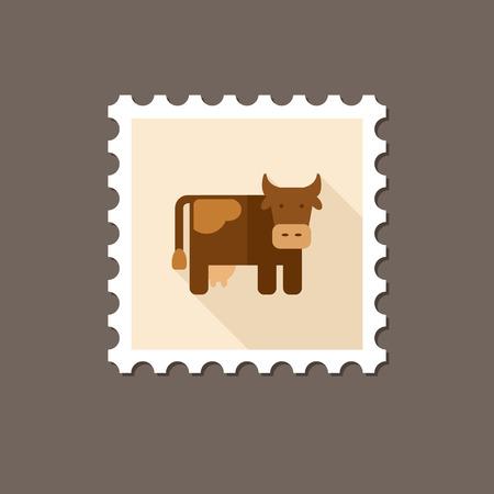 vaca: Vaca sello plana con larga sombra, eps 10 Vectores