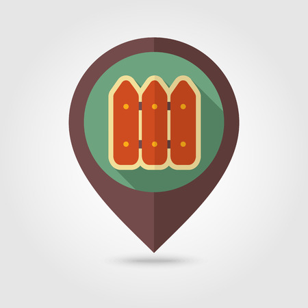 bucolic: Fence flat mapping pin icon with long shadow, eps 10