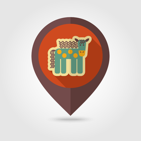 mapping: Horse flat mapping pin icon with long shadow, eps 10