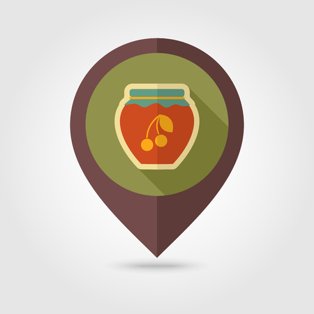 canned fruit: Cherry jam jar flat mapping pin icon with long shadow, eps 10