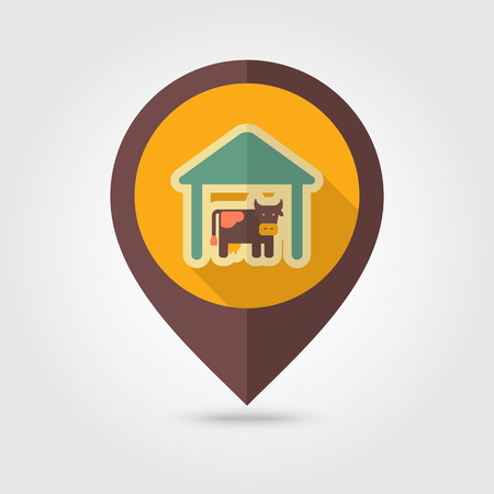 pavilion: Cowshed flat mapping pin icon with long shadow, eps 10