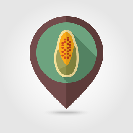 corncob: Corncob flat mapping pin icon with long shadow, eps 10
