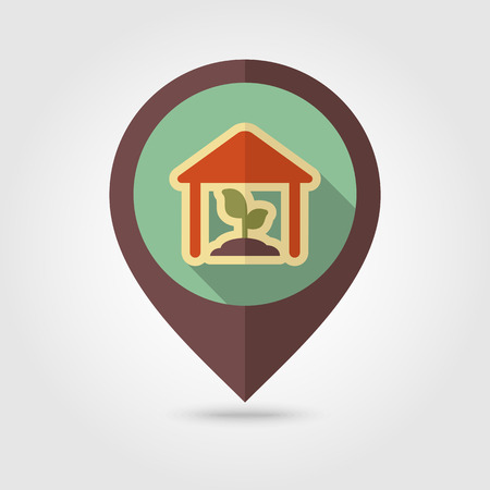 greenhouse: Greenhouse flat mapping pin icon with long shadow, eps 10