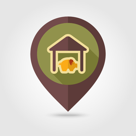 pigsty: Pigsty flat mapping pin icon with long shadow, eps 10
