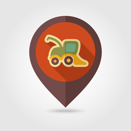 combine harvester: Combine harvester flat mapping pin icon with long shadow, eps 10