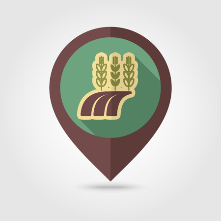 barley field: Ears of Wheat, Barley or Rye on field flat mapping pin icon with long shadow, eps 10 Illustration