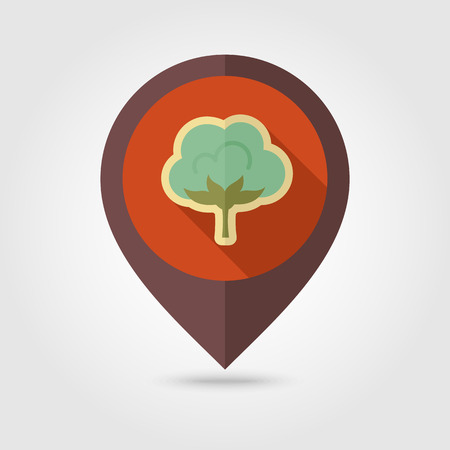 cotton: Cotton flat mapping pin icon with long shadow, eps 10