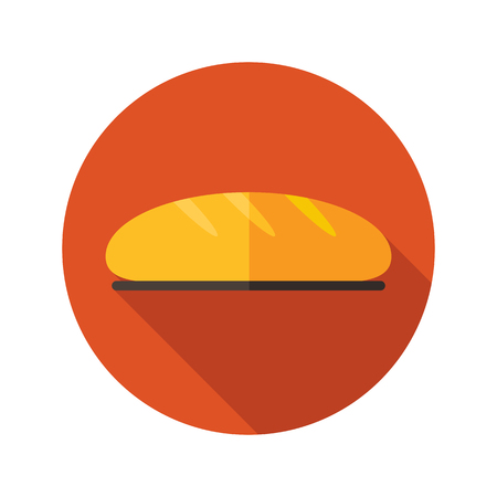 white bread: Bread flat icon with long shadow, eps 10 Illustration