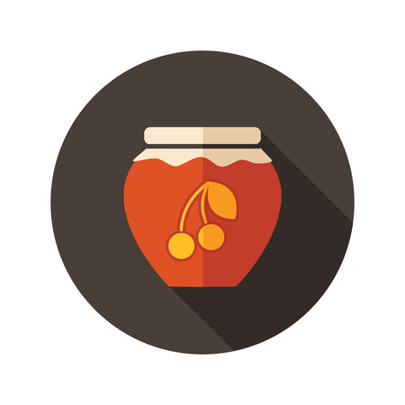 jam jar: Cherry jam jar flat icon with long shadow, eps 10 Illustration