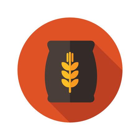burlap bag: Sack of grain flat icon with long shadow, eps 10