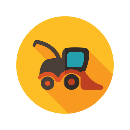 harvester: Combine harvester flat icon with long shadow, eps 10