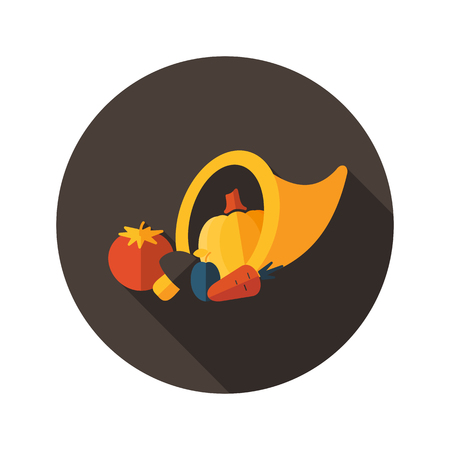 cornucopia: Harvest cornucopia flat icon with long shadow, eps 10