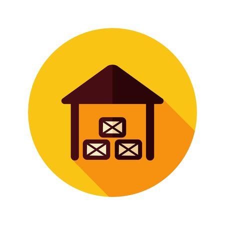 granary: Capannone icona piatta con una lunga ombra, eps 10 Vettoriali