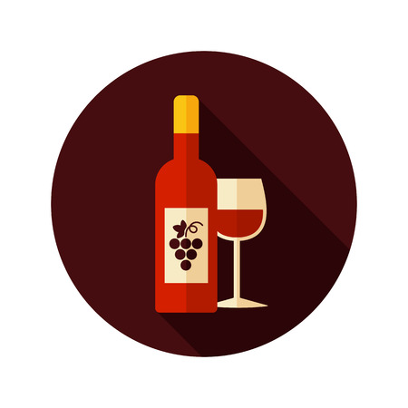 Wine  flat icon with long shadow, eps 10