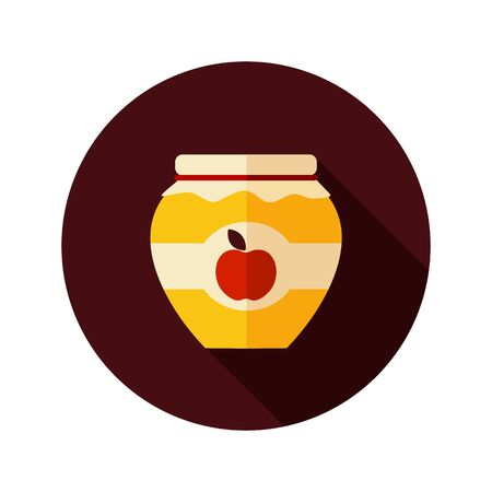 tagged: Apple jam jar flat icon with long shadow, eps 10