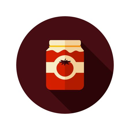 puree: Tomato canned flat icon with long shadow, eps 10