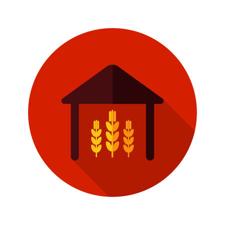 granary: Barn flat icon with long shadow, eps 10 Vettoriali