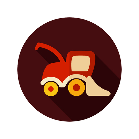 combine harvester: Combine harvester flat icon with long shadow, eps 10