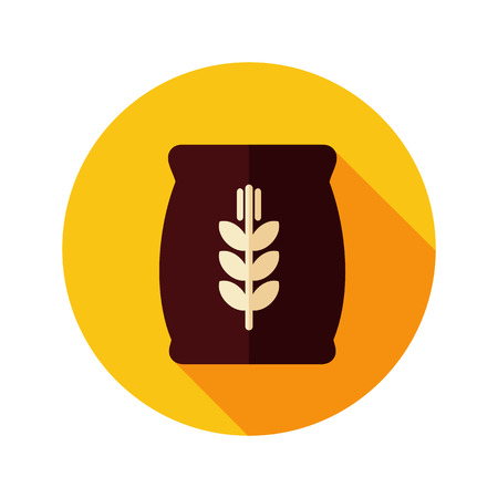 grain: Sack of grain flat icon with long shadow, eps 10
