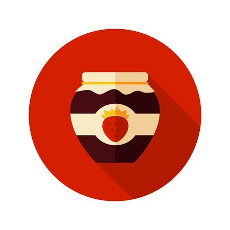 jam jar: Strawberry jam jar flat icon with long shadow, eps 10