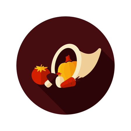 horn of plenty: Harvest cornucopia flat icon with long shadow, eps 10
