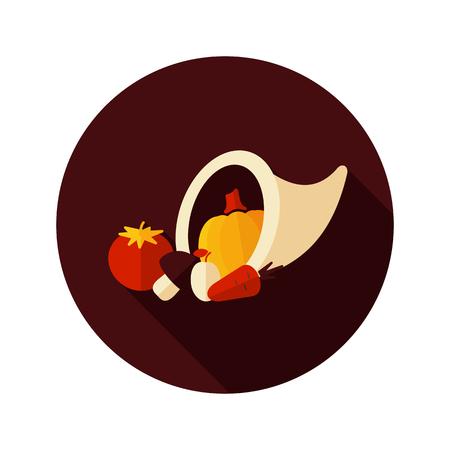 cornucopia: Icono plana cornucopia cosecha con una larga sombra, eps 10