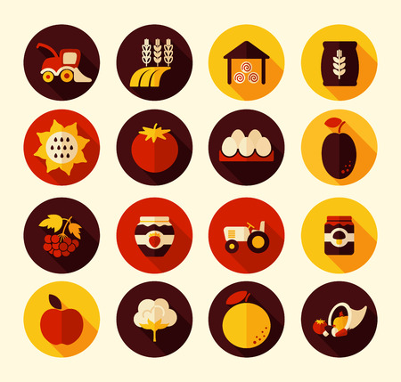 fall harvest: Autumn Harvest Thanksgiving flat icon, eps 10