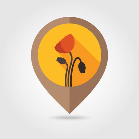 opium poppy: Poppy flat mapping pin icon, map pointer, vector illustration