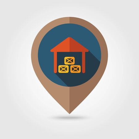 shed: Shed flat mapping pin icon, map pointer, vector illustration Illustration