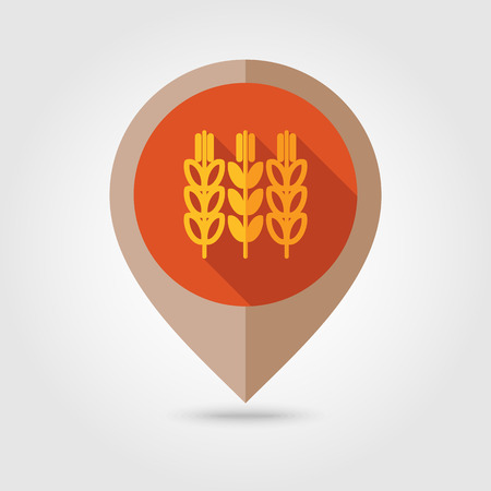 sheaf: Spikelets of wheat flat mapping pin icon, map pointer, vector illustration