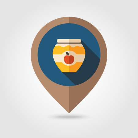 tagged: Apple jam jar flat mapping pin icon, map pointer, vector illustration eps 10