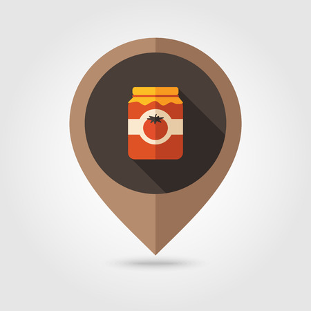 puree: Tomato canned flat mapping pin icon, map pointer, vector illustration  Illustration