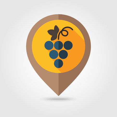 harvesting: Grapes flat mapping pin icon, map pointer, vector illustration