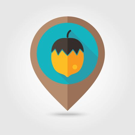 mapping: Nut flat mapping pin icon, map pointer, vector illustration