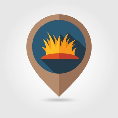 reflection of life: Autumn grass flat mapping pin icon, map pointer, vector illustration  Illustration