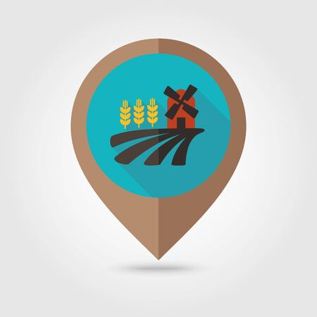 wheat flour: Field with a mill and wheat flat mapping pin icon, map pointer, vector illustration