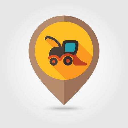 harvester: Combine harvester flat mapping pin icon, map pointer, vector illustration   Illustration