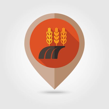 barley field: Ears of Wheat, Barley or Rye on field flat mapping pin icon, map pointer, vector illustration   Illustration