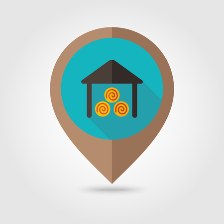 shed: Shed flat mapping pin icon, map pointer, vector illustration