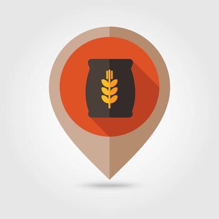 burlap bag: Sack of grain flat mapping pin icon, map pointer, vector illustration