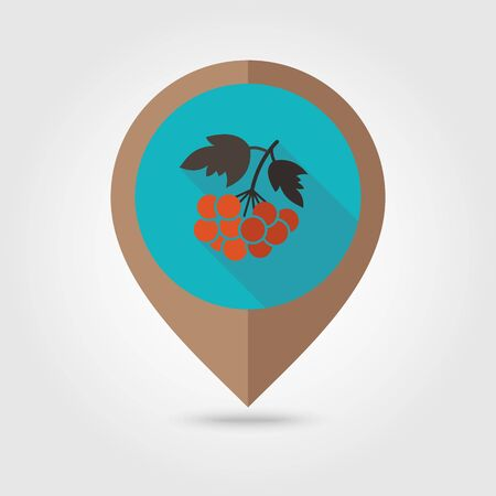 ashberry: Rowan branch flat mapping pin icon, map pointer, vector illustration