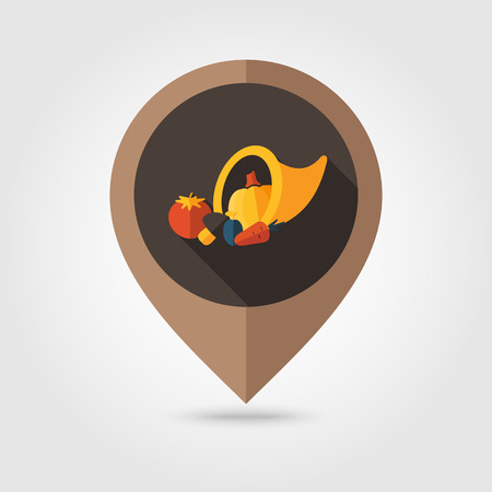 cornucopia: Cornucopia cosecha icono pin mapeo plana, puntero del mapa, ilustraci�n vectorial