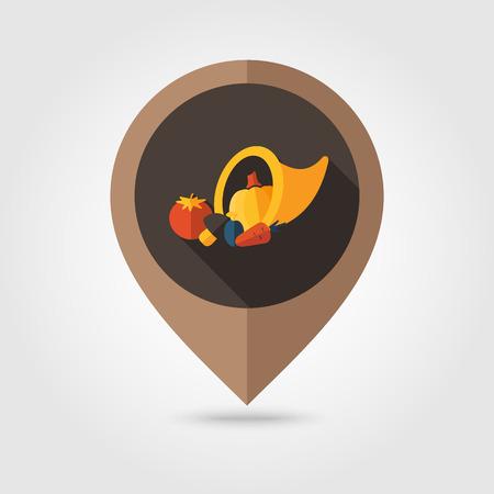 cornucopia: Harvest cornucopia flat mapping pin icon, map pointer, vector illustration