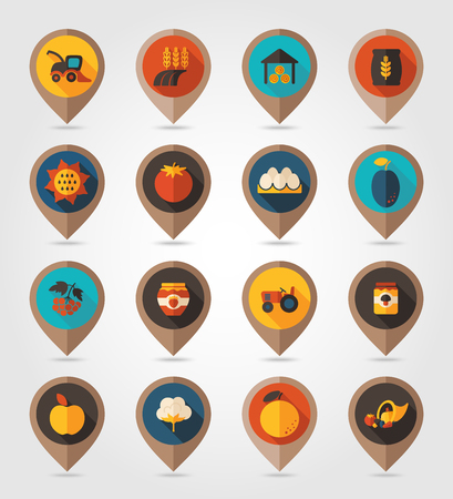 cornucopia: Autumn Harvest Thanksgiving flat mapping pin icon, map pointer, vector illustration   Illustration