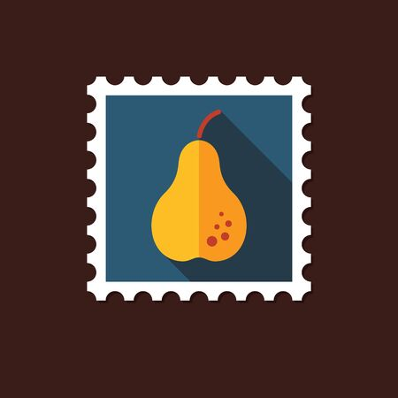 Pear flat stamp with long shadow